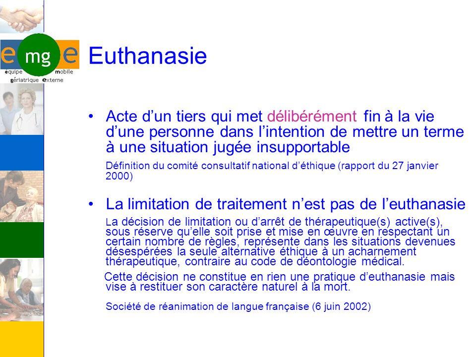 Euthanasie Acte dun tiers qui met délibérément fin à la vie dune personne dans lintention de mettre un terme à une situation jugée insupportable Défin