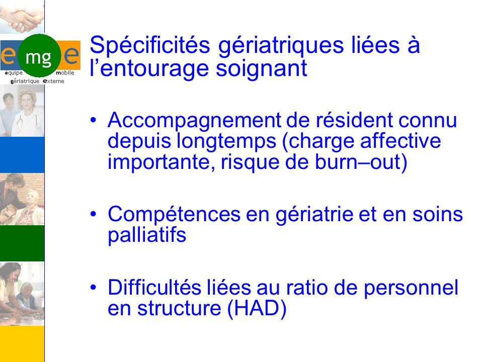 Spécificités gériatriques liées à lentourage soignant Accompagnement de résident connu depuis longtemps (charge affective importante, risque de burn–o