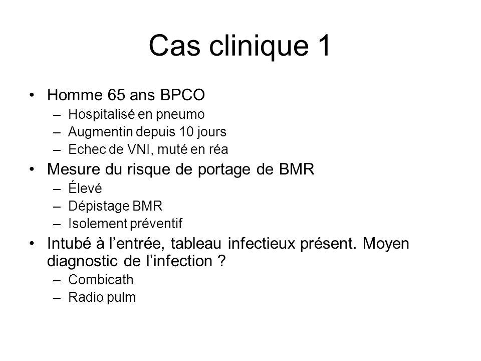 Cas clinique 1 Homme 65 ans BPCO –Hospitalisé en pneumo –Augmentin depuis 10 jours –Echec de VNI, muté en réa Mesure du risque de portage de BMR –Élev