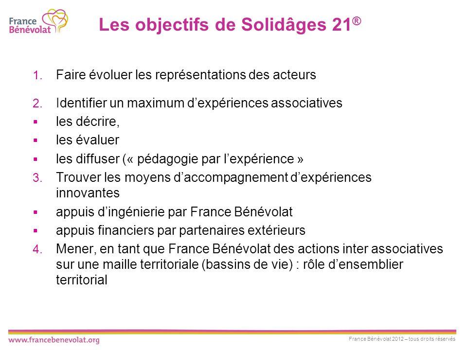 France Bénévolat 2012 – tous droits réservés Les objectifs de Solidâges 21 ® 1. Faire évoluer les représentations des acteurs 2. Identifier un maximum
