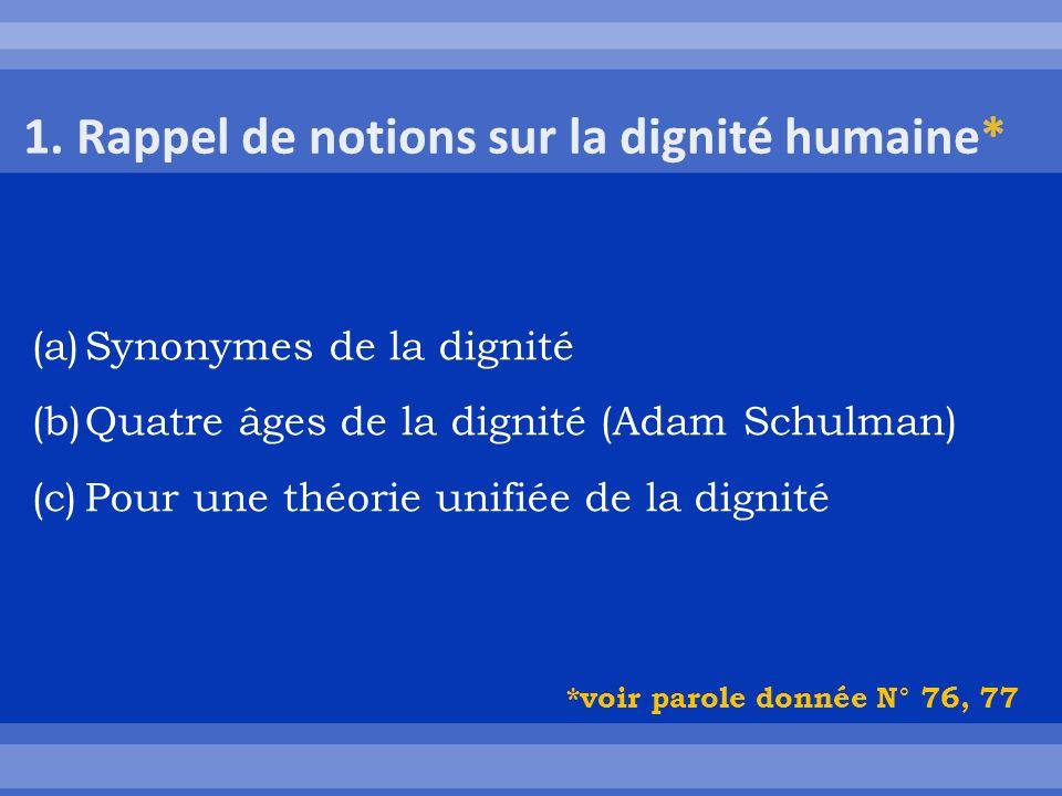 (a)Synonymes de la dignité (b)Quatre âges de la dignité (Adam Schulman) (c)Pour une théorie unifiée de la dignité *voir parole donnée N° 76, 77