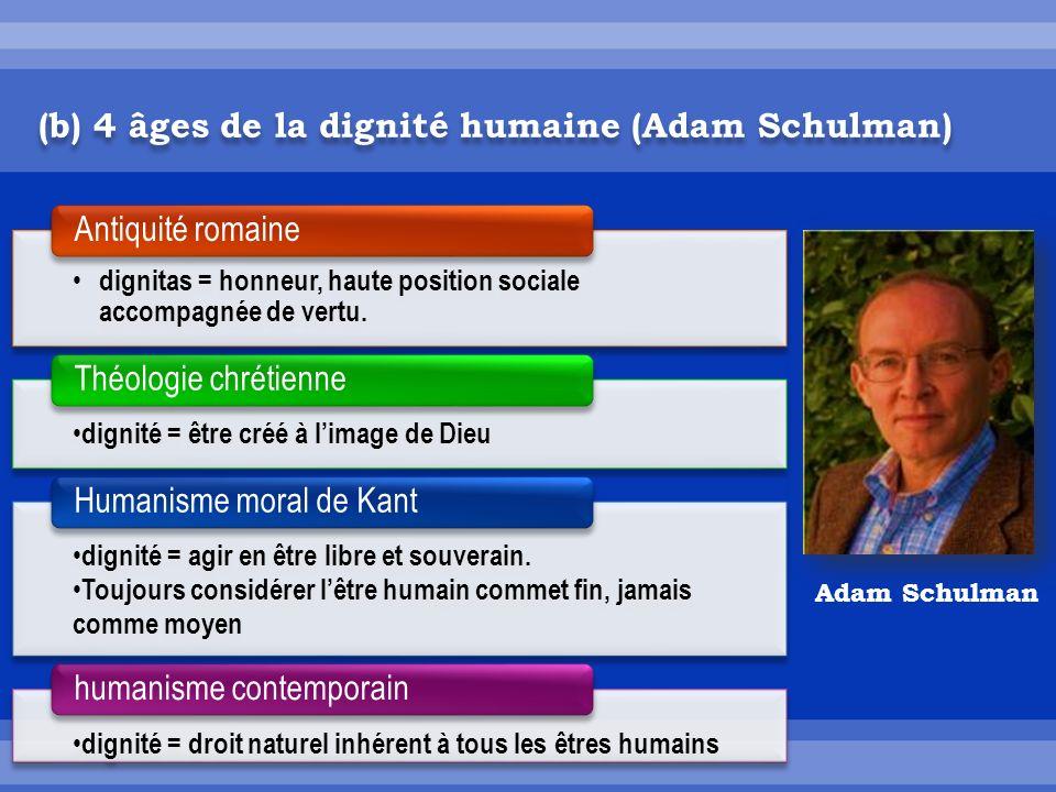 (b) 4 âges de la dignité humaine (Adam Schulman) dignitas = honneur, haute position sociale accompagnée de vertu.