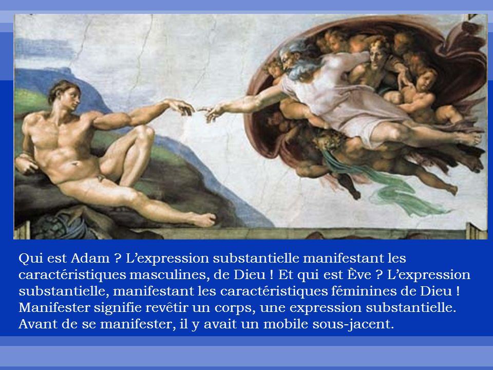 Qui est Adam . Lexpression substantielle manifestant les caractéristiques masculines, de Dieu .