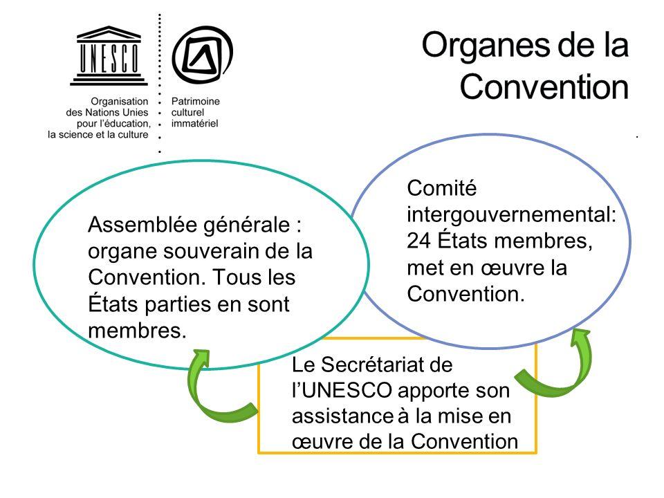 . Assemblée générale : organe souverain de la Convention. Tous les États parties en sont membres. Comité intergouvernemental: 24 États membres, met en