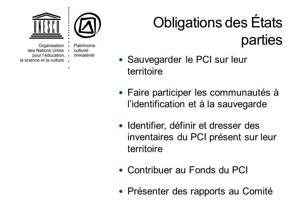 Sauvegarder le PCI sur leur territoire Faire participer les communautés à lidentification et à la sauvegarde Identifier, définir et dresser des invent