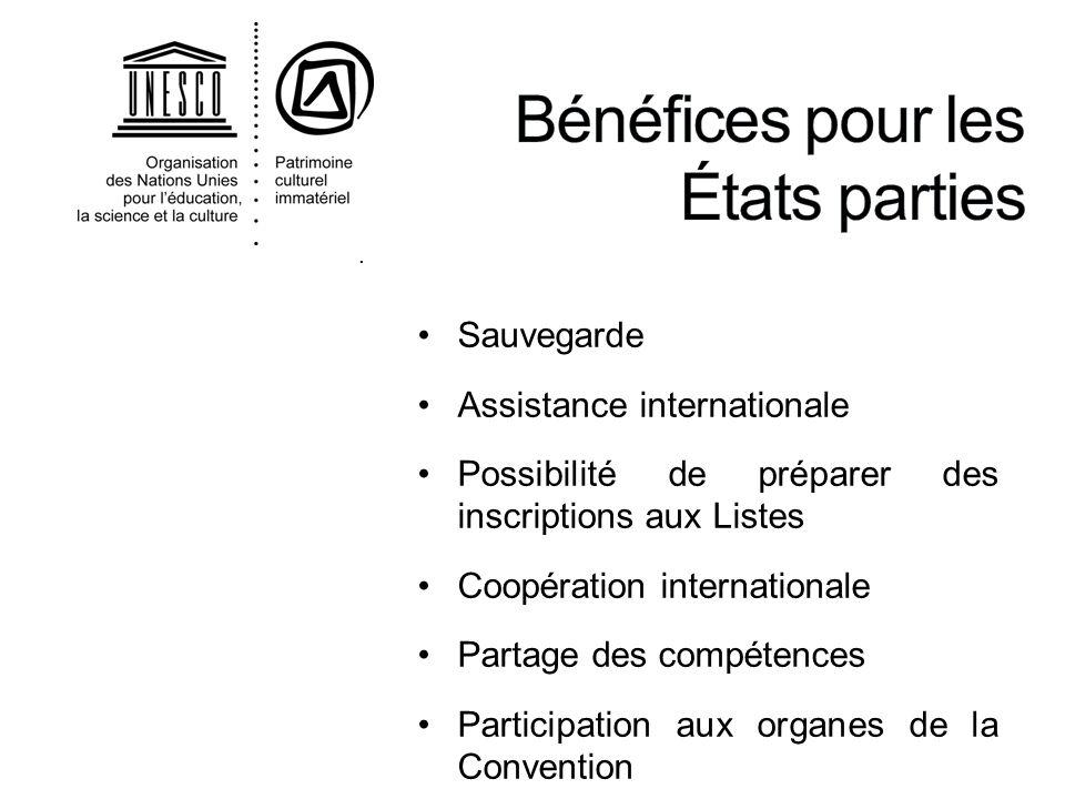 . Sauvegarde Assistance internationale Possibilité de préparer des inscriptions aux Listes Coopération internationale Partage des compétences Particip