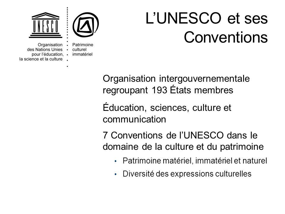 Organisation intergouvernementale regroupant 193 États membres Éducation, sciences, culture et communication 7 Conventions de lUNESCO dans le domaine