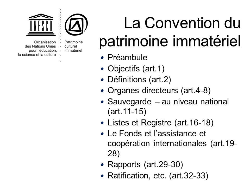 . Sauvegarde Assistance internationale Possibilité de préparer des inscriptions aux Listes Coopération internationale Partage des compétences Participation aux organes de la Convention