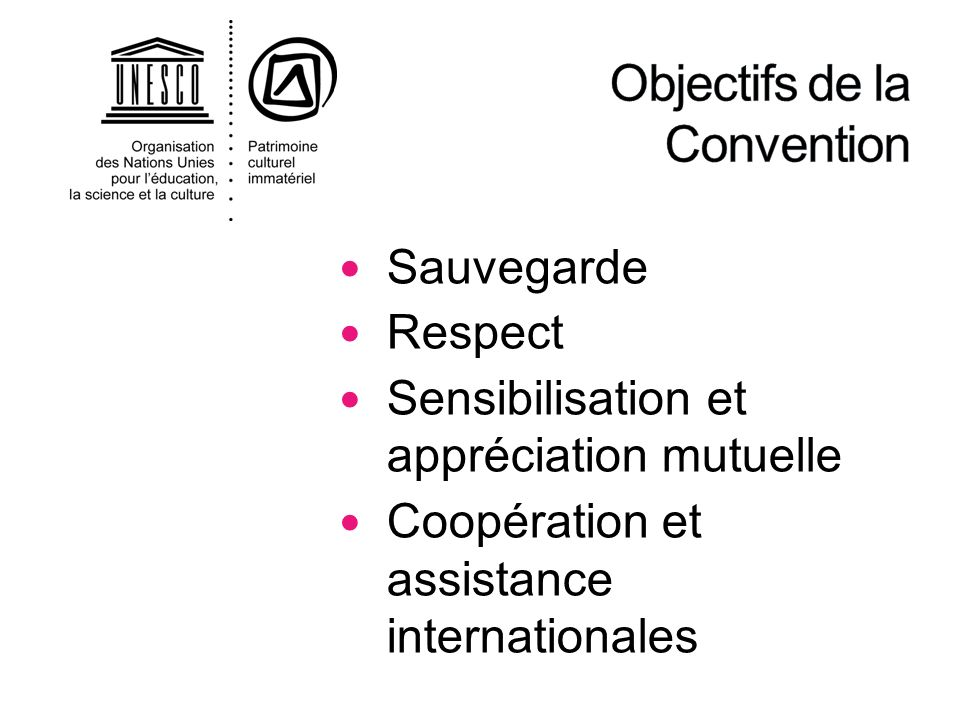 . La Convention vise à : Sauvegarder le PCI avec et pour les communautés Promouvoir la diversité culturelle, la créativité humaine, la compréhension mutuelle et la coopération internationale Faire prévaloir le rôle des communautés de détenteurs de traditions dans la définition, la pratique, la transmission et la sauvegarde de leur PCI