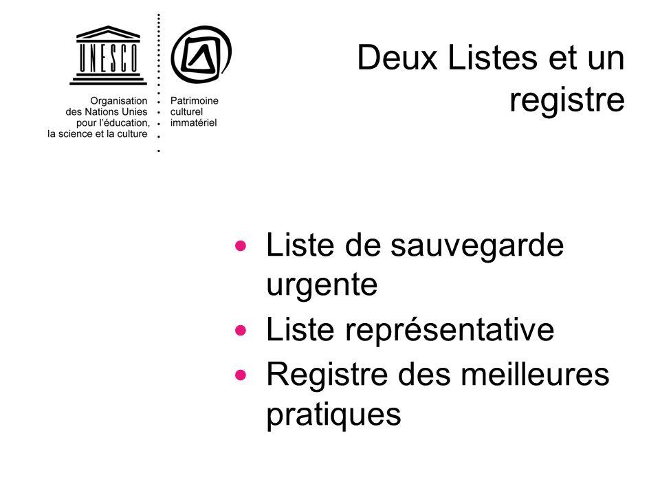 Liste de sauvegarde urgente Liste représentative Registre des meilleures pratiques Deux Listes et un registre