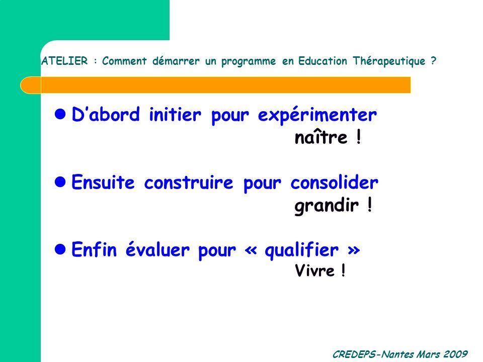 CREDEPS-Nantes Mars 2009 Dabord initier pour expérimenter naître ! Ensuite construire pour consolider grandir ! Enfin évaluer pour « qualifier » Vivre
