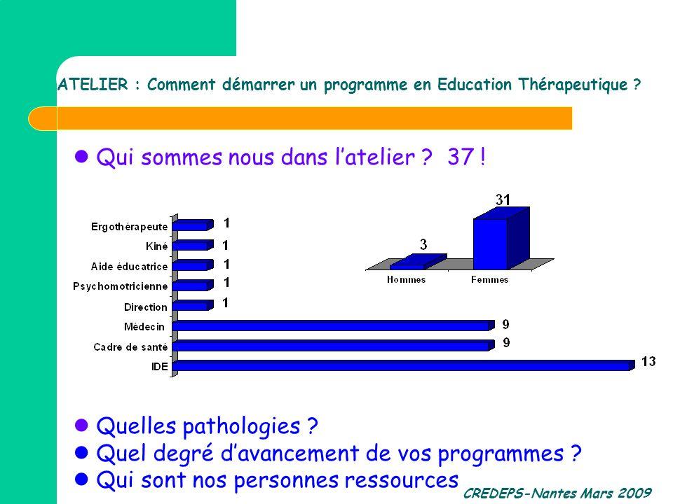 CREDEPS-Nantes Mars 2009 ATELIER : Comment démarrer un programme en Education Thérapeutique ? Qui sommes nous dans latelier ? 37 ! Quelles pathologies