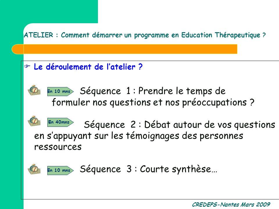 CREDEPS-Nantes Mars 2009 Le déroulement de latelier ? Séquence 1 : Prendre le temps de formuler nos questions et nos préoccupations ? Séquence 2 : Déb