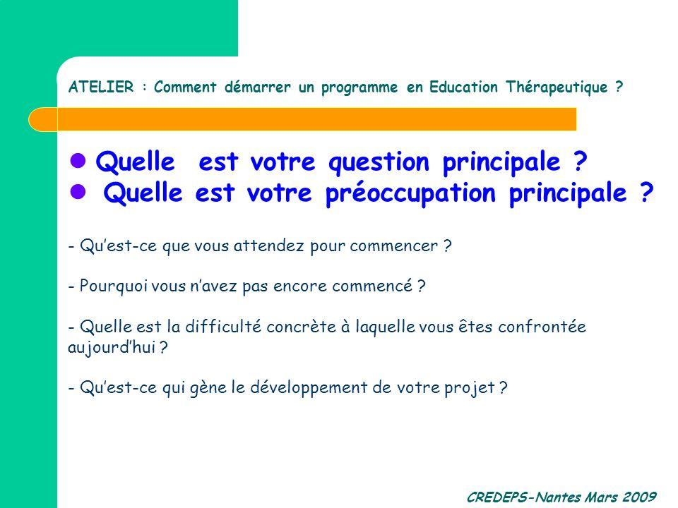 CREDEPS-Nantes Mars 2009 Quelle est votre question principale ? Quelle est votre préoccupation principale ? - Quest-ce que vous attendez pour commence