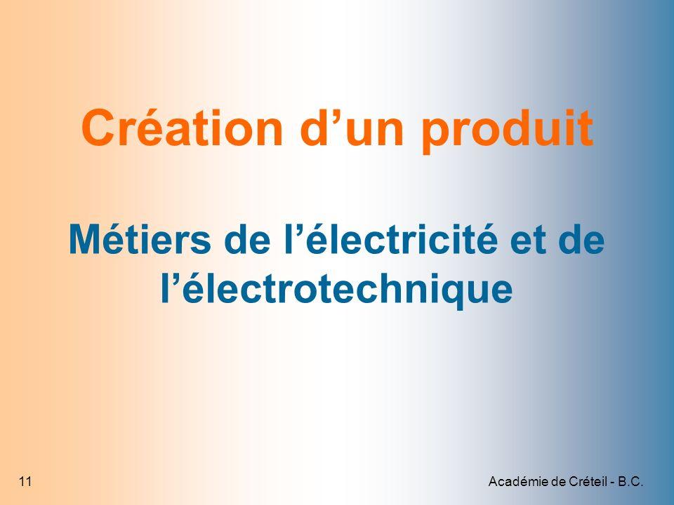 Académie de Créteil - B.C.11 Création dun produit Métiers de lélectricité et de lélectrotechnique