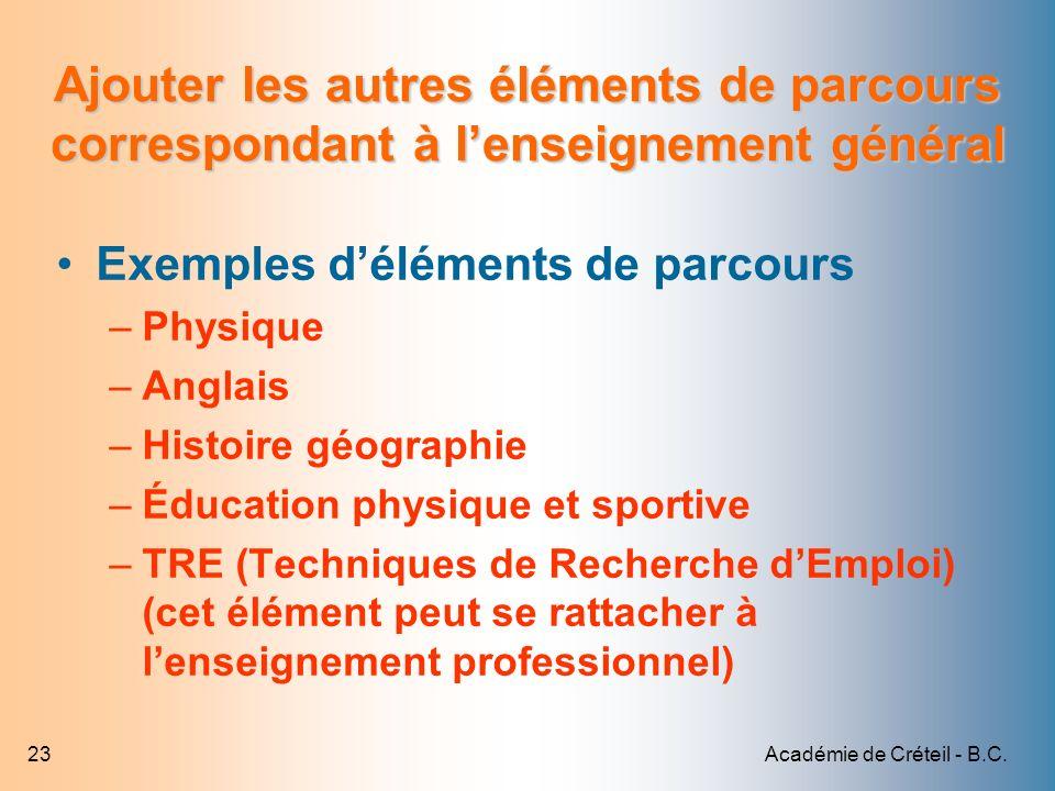 Académie de Créteil - B.C.23 Ajouter les autres éléments de parcours correspondant à lenseignement général Exemples déléments de parcours –Physique –A