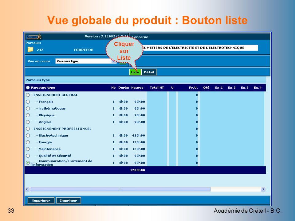Académie de Créteil - B.C.33 Vue globale du produit : Bouton liste Cliquer sur Liste