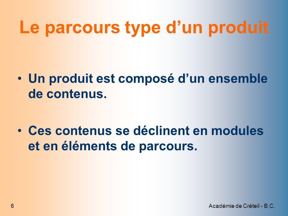Académie de Créteil - B.C.6 Le parcours type dun produit Un produit est composé dun ensemble de contenus. Ces contenus se déclinent en modules et en é
