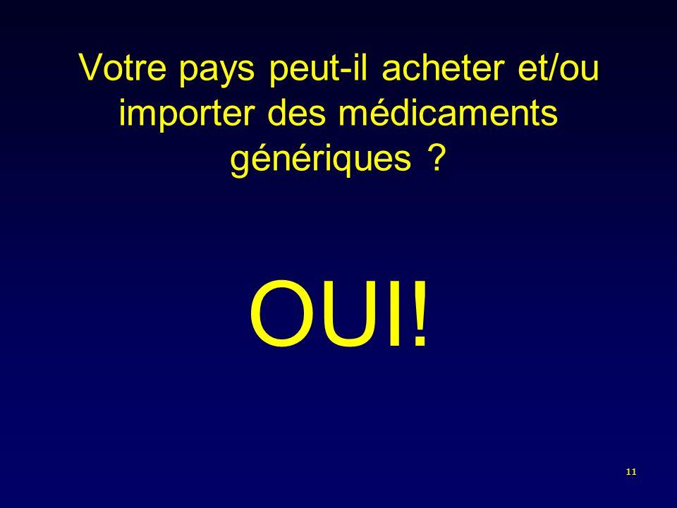 11 Votre pays peut-il acheter et/ou importer des médicaments génériques ? OUI!