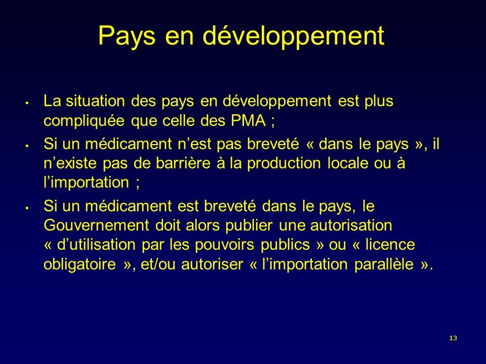 13 Pays en développement La situation des pays en développement est plus compliquée que celle des PMA ; Si un médicament nest pas breveté « dans le pa