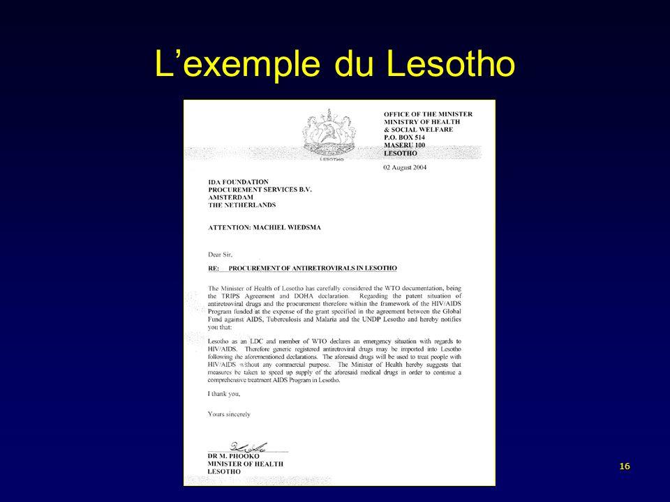 16 Lexemple du Lesotho
