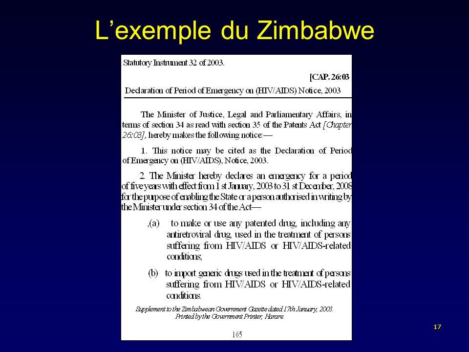 17 Lexemple du Zimbabwe