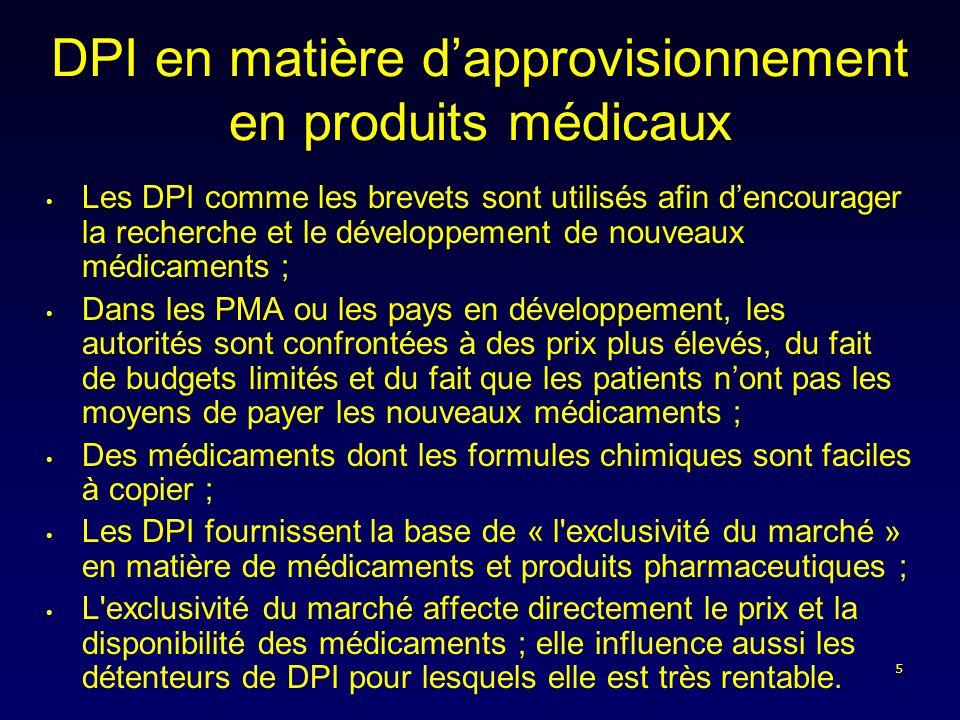 5 DPI en matière dapprovisionnement en produits médicaux Les DPI comme les brevets sont utilisés afin dencourager la recherche et le développement de