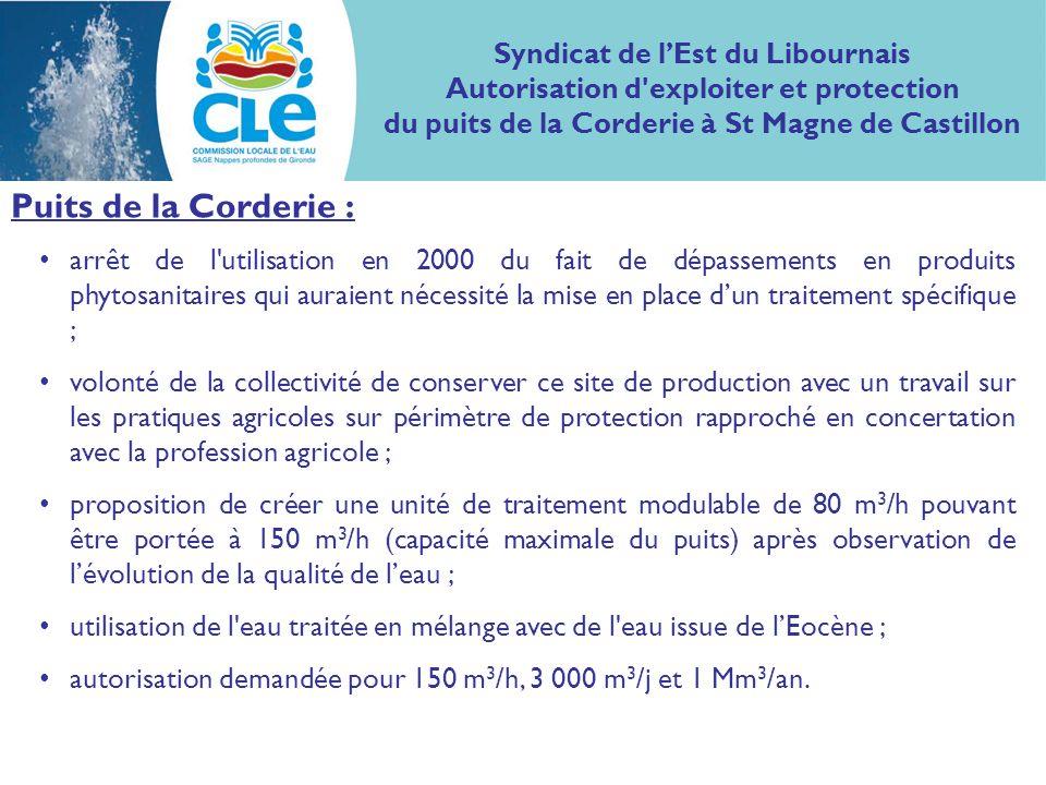 Puits de la Corderie : arrêt de l'utilisation en 2000 du fait de dépassements en produits phytosanitaires qui auraient nécessité la mise en place dun
