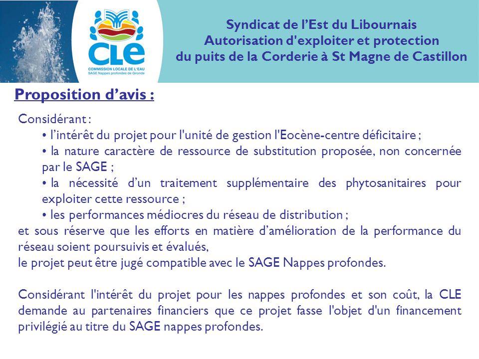 Proposition davis : Considérant : lintérêt du projet pour l'unité de gestion l'Eocène-centre déficitaire ; la nature caractère de ressource de substit