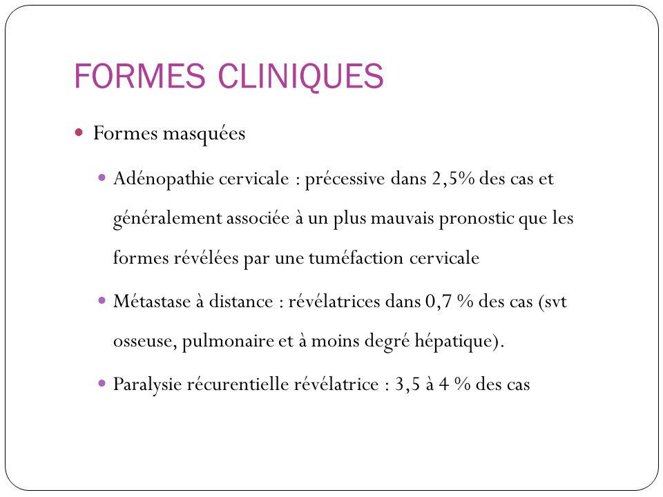 FORMES CLINIQUES Formes masquées Adénopathie cervicale : précessive dans 2,5% des cas et généralement associée à un plus mauvais pronostic que les for