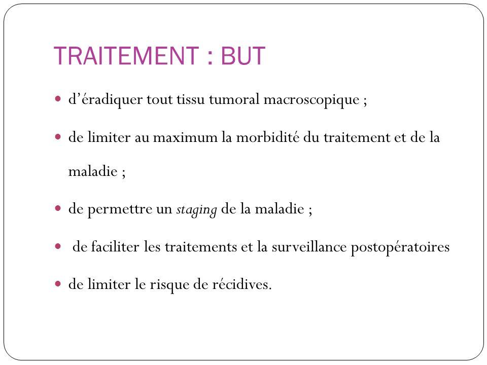 TRAITEMENT : BUT déradiquer tout tissu tumoral macroscopique ; de limiter au maximum la morbidité du traitement et de la maladie ; de permettre un sta