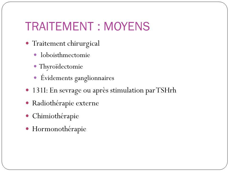 TRAITEMENT : MOYENS Traitement chirurgical loboisthmectomie Thyroïdectomie Évidements ganglionnaires 131I: En sevrage ou après stimulation par TSHrh R
