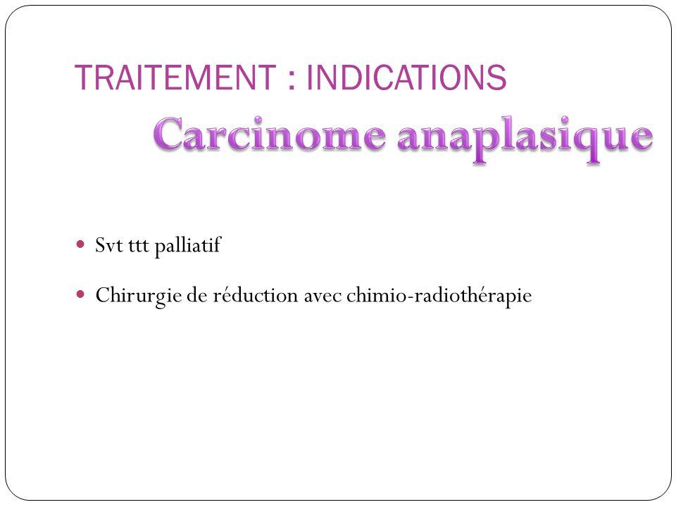 TRAITEMENT : INDICATIONS Svt ttt palliatif Chirurgie de réduction avec chimio-radiothérapie