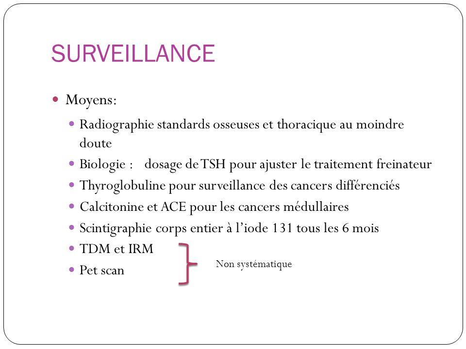 SURVEILLANCE Moyens: Radiographie standards osseuses et thoracique au moindre doute Biologie : dosage de TSH pour ajuster le traitement freinateur Thy