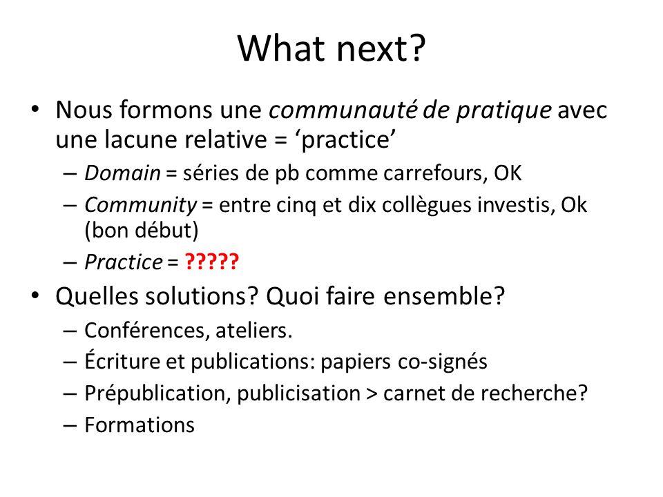 What next? Nous formons une communauté de pratique avec une lacune relative = practice – Domain = séries de pb comme carrefours, OK – Community = entr