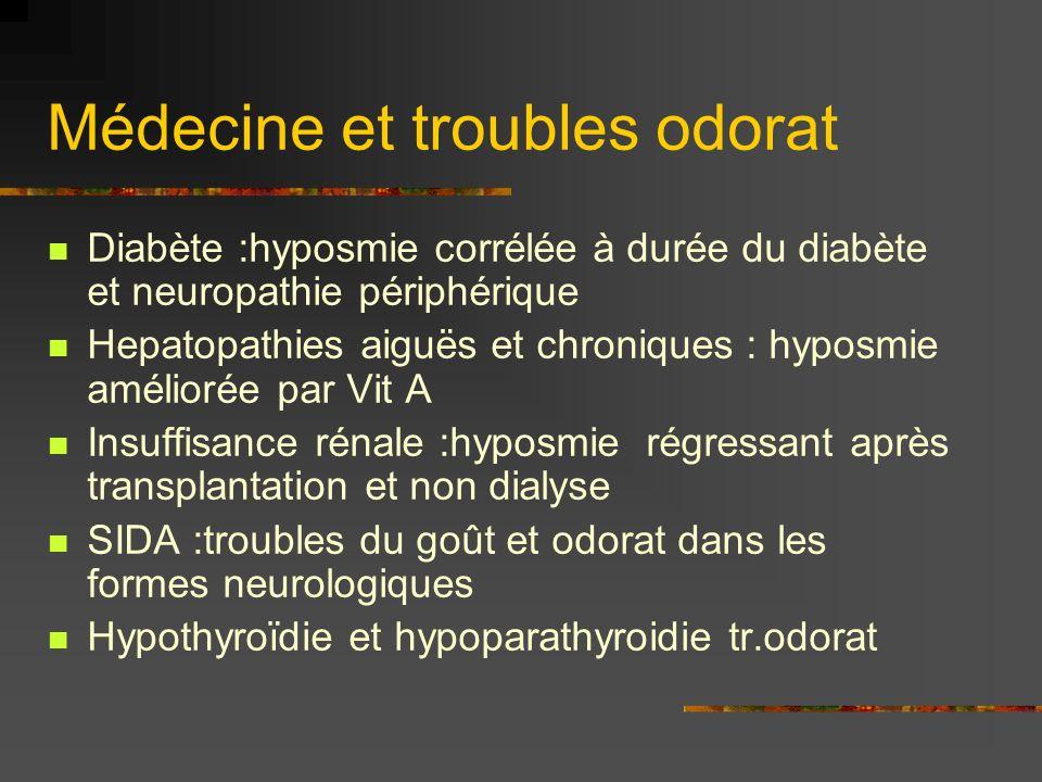 Médecine et troubles odorat Diabète :hyposmie corrélée à durée du diabète et neuropathie périphérique Hepatopathies aiguës et chroniques : hyposmie am