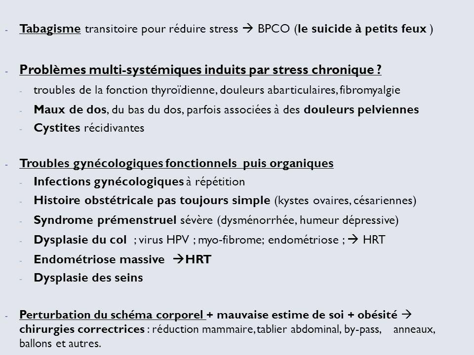 - Tabagisme transitoire pour réduire stress BPCO (le suicide à petits feux ) - Problèmes multi-systémiques induits par stress chronique ? - troubles d