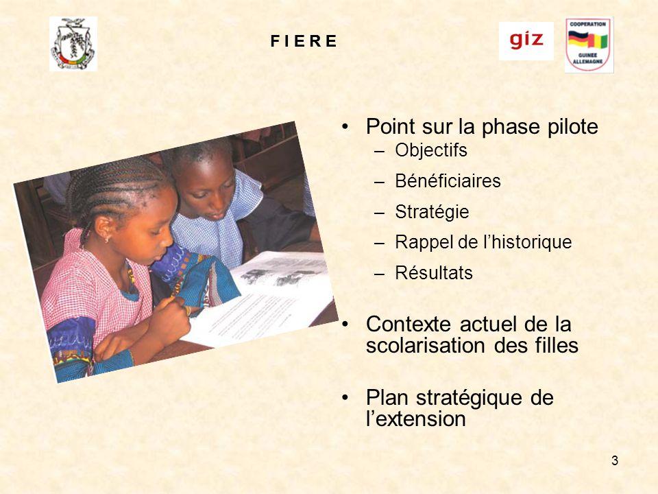 F I E R E 3 Point sur la phase pilote –Objectifs –Bénéficiaires –Stratégie –Rappel de lhistorique –Résultats Contexte actuel de la scolarisation des filles Plan stratégique de lextension F I E R E