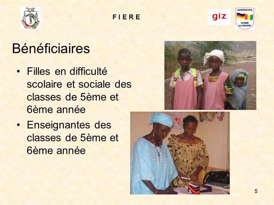 F I E R E 5 Bénéficiaires Filles en difficulté scolaire et sociale des classes de 5ème et 6ème année Enseignantes des classes de 5ème et 6ème année