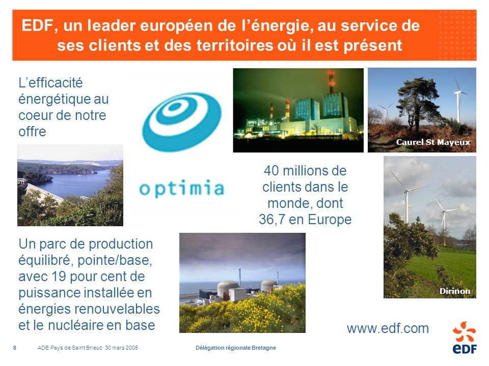 ADE Pays de Saint Brieuc 30 mars 2006Délégation régionale Bretagne8 EDF, un leader européen de lénergie, au service de ses clients et des territoires où il est présent Lefficacité énergétique au coeur de notre offre Un parc de production équilibré, pointe/base, avec 19 pour cent de puissance installée en énergies renouvelables et le nucléaire en base 40 millions de clients dans le monde, dont 36,7 en Europe Dirinon www.edf.com Caurel St Mayeux