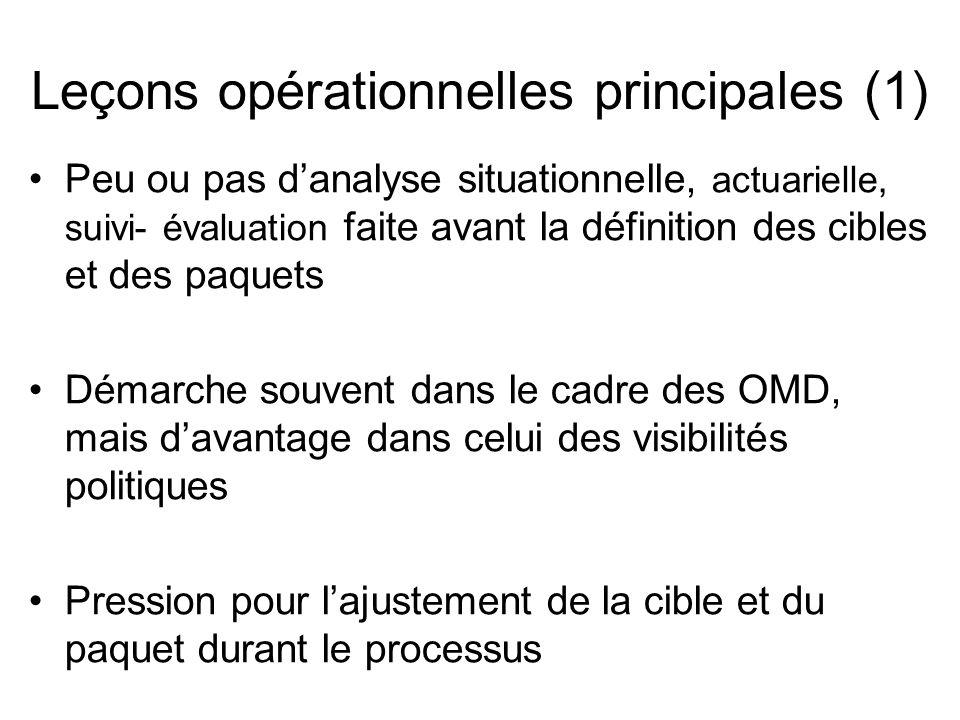 Leçons opérationnelles principales (1) Peu ou pas danalyse situationnelle, actuarielle, suivi- évaluation faite avant la définition des cibles et des paquets Démarche souvent dans le cadre des OMD, mais davantage dans celui des visibilités politiques Pression pour lajustement de la cible et du paquet durant le processus