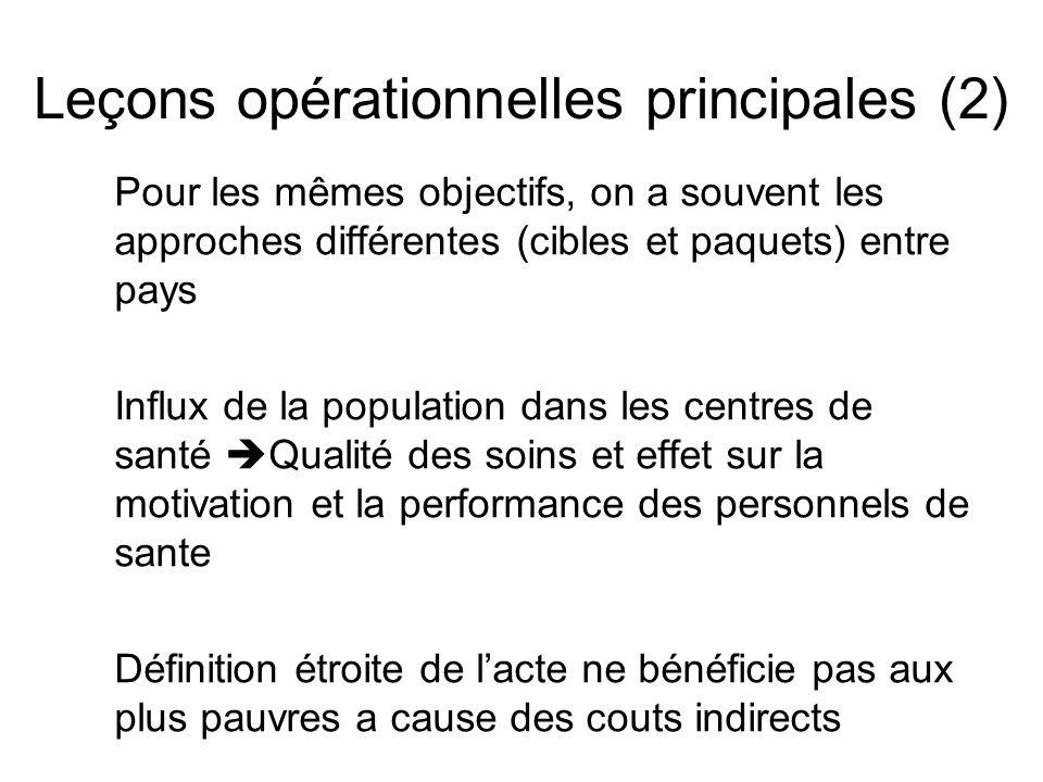 Leçons opérationnelles principales (2) Pour les mêmes objectifs, on a souvent les approches différentes (cibles et paquets) entre pays Influx de la po