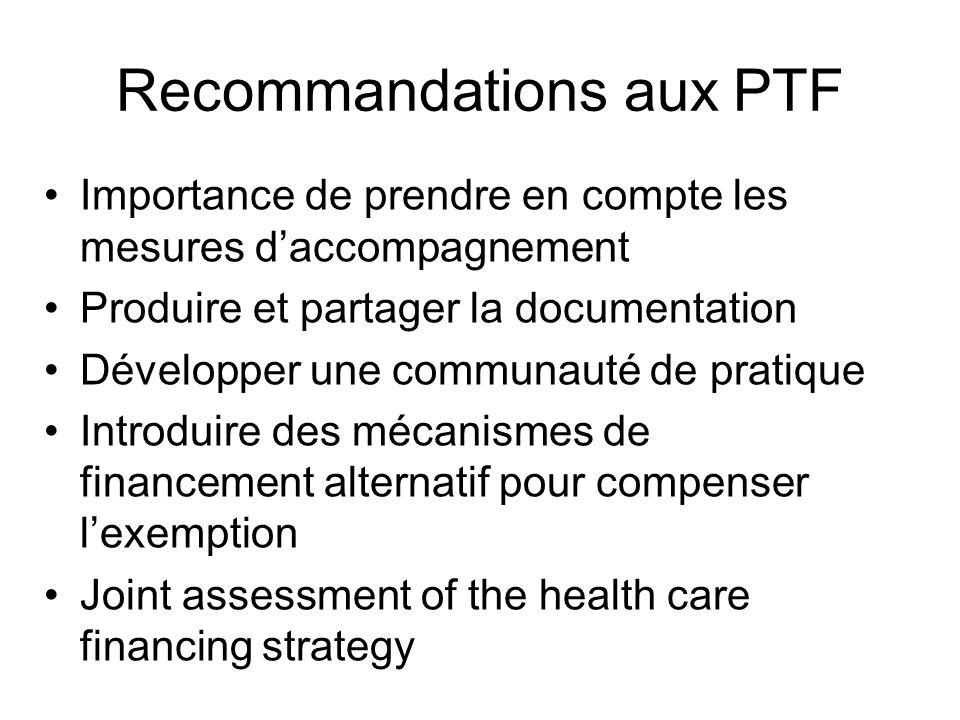 Recommandations aux PTF Importance de prendre en compte les mesures daccompagnement Produire et partager la documentation Développer une communauté de