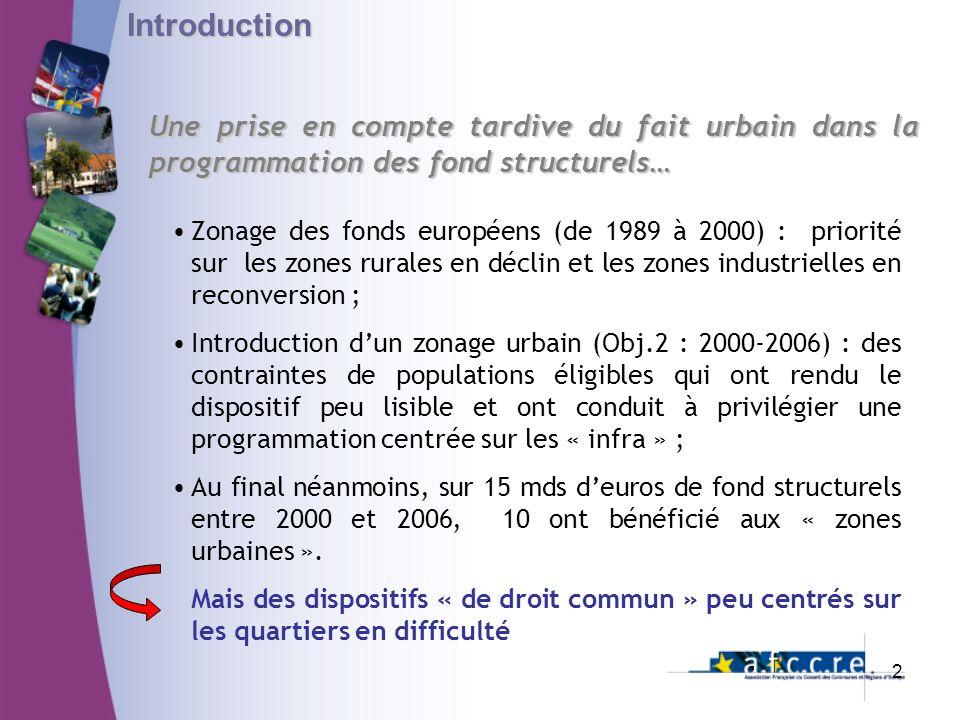 Une prise en compte tardive du fait urbain dans la programmation des fond structurels… Introduction Zonage des fonds européens (de 1989 à 2000) : prio