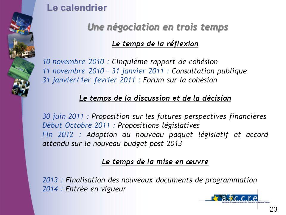 Le calendrier 23 Une négociation en trois temps Le temps de la réflexion 10 novembre 2010 : Cinquième rapport de cohésion 11 novembre 2010 – 31 janvie