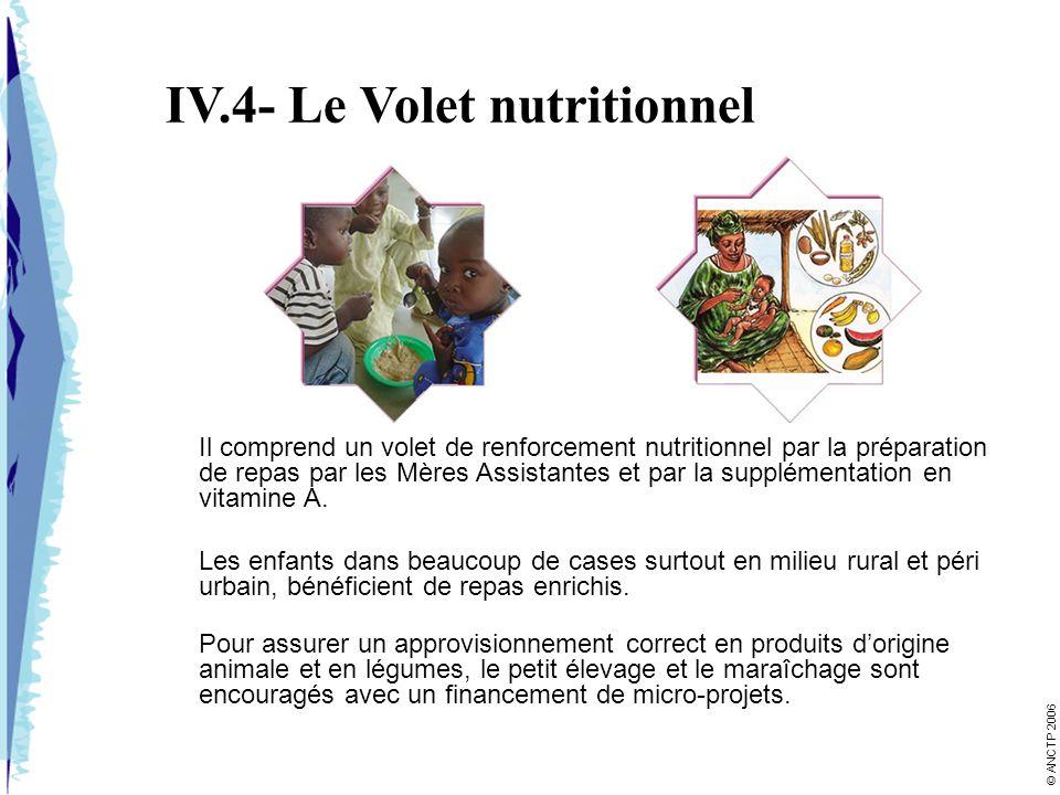 IV.4- Le Volet nutritionnel Il comprend un volet de renforcement nutritionnel par la préparation de repas par les Mères Assistantes et par la suppléme