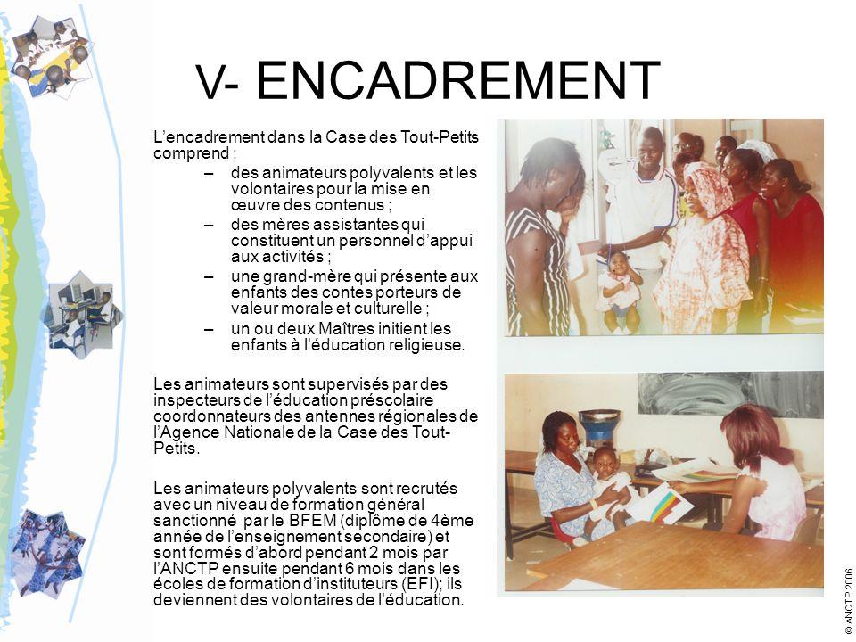 V- ENCADREMENT Lencadrement dans la Case des Tout-Petits comprend : –des animateurs polyvalents et les volontaires pour la mise en œuvre des contenus