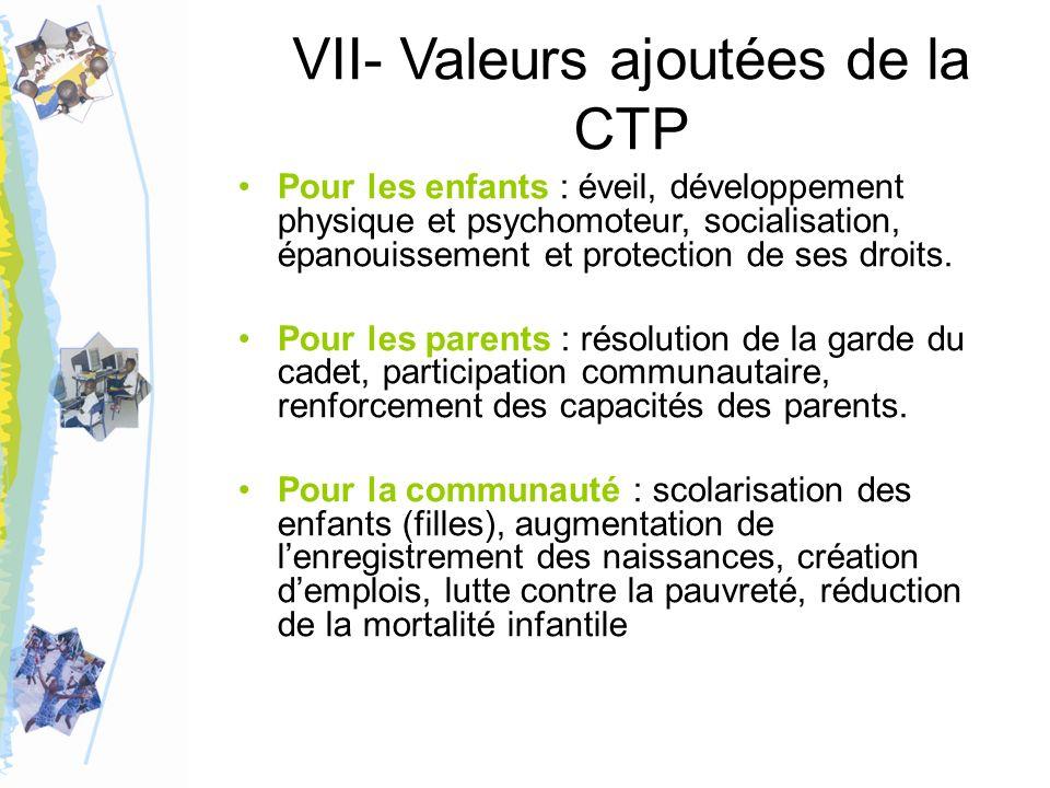 VII- Valeurs ajoutées de la CTP Pour les enfants : éveil, développement physique et psychomoteur, socialisation, épanouissement et protection de ses droits.