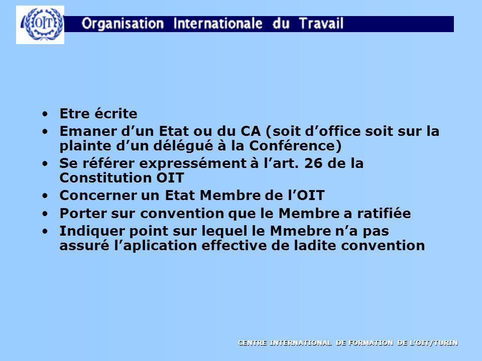 CENTRE INTERNATIONAL DE FORMATION DE LOIT/TURIN Etre écrite Emaner dun Etat ou du CA (soit doffice soit sur la plainte dun délégué à la Conférence) Se