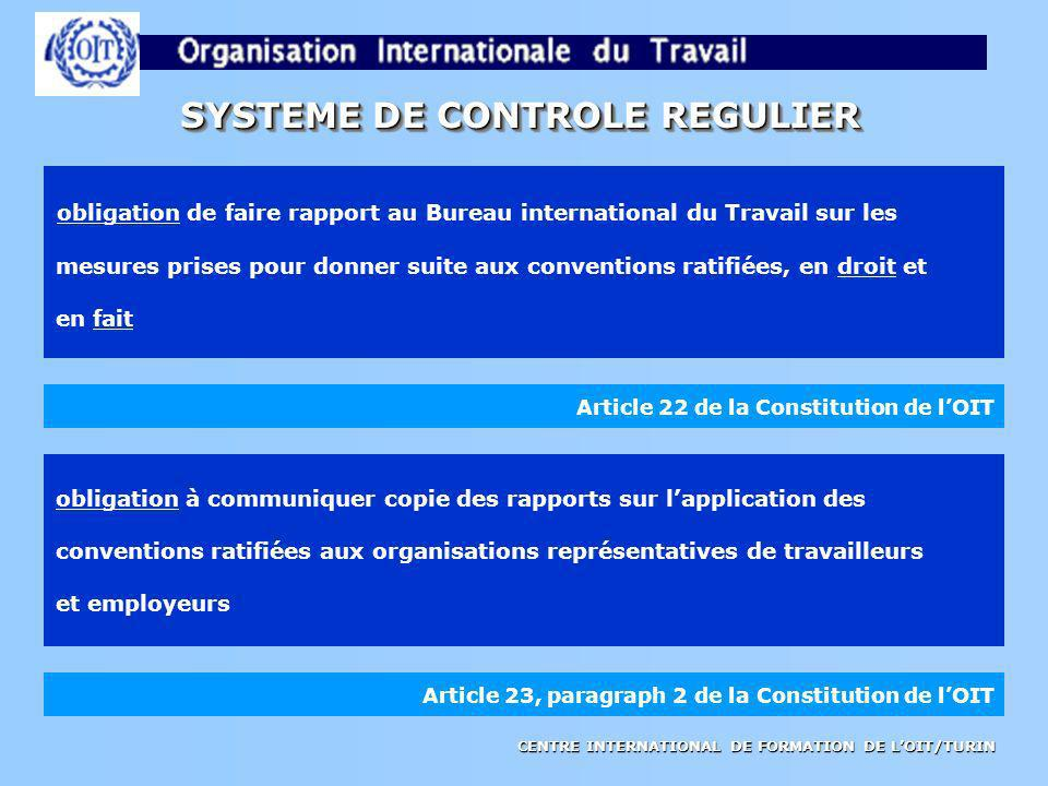 CENTRE INTERNATIONAL DE FORMATION DE LOIT/TURIN SYSTEME DE CONTROLE REGULIER Article 22 de la Constitution de lOIT obligation de faire rapport au Bure